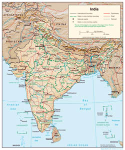Large detailed political and administrative map of India with relief - 2001.