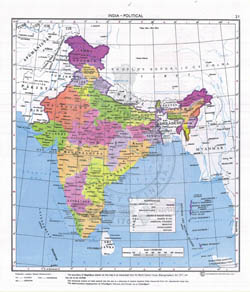 Large detailed political map of India.
