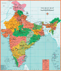 Large detailed tourist map of India.