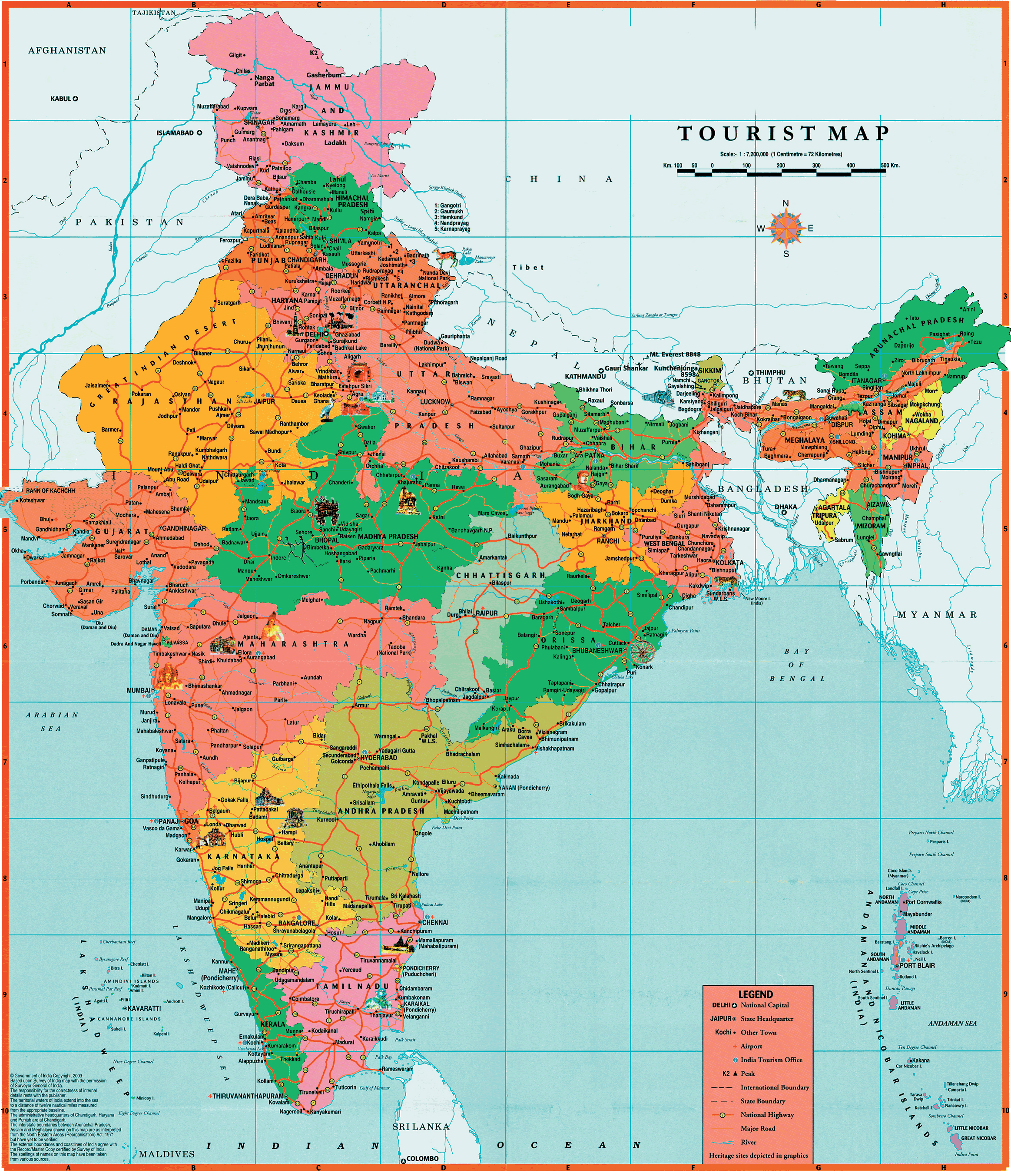 Maps of India  Detailed map of India in English  Tourist map of
