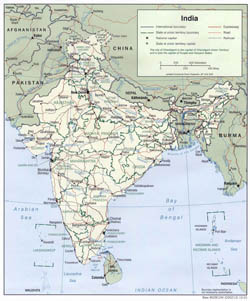 Large political and administrative map of India - 2001.