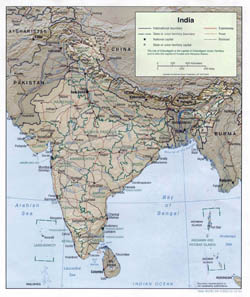 Large political and administrative map of India with relief - 2001.