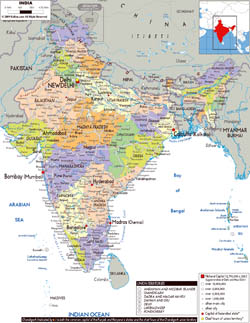 Large political and administrative map of India with roads, cities and airports.