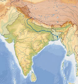 Large relief map of India.