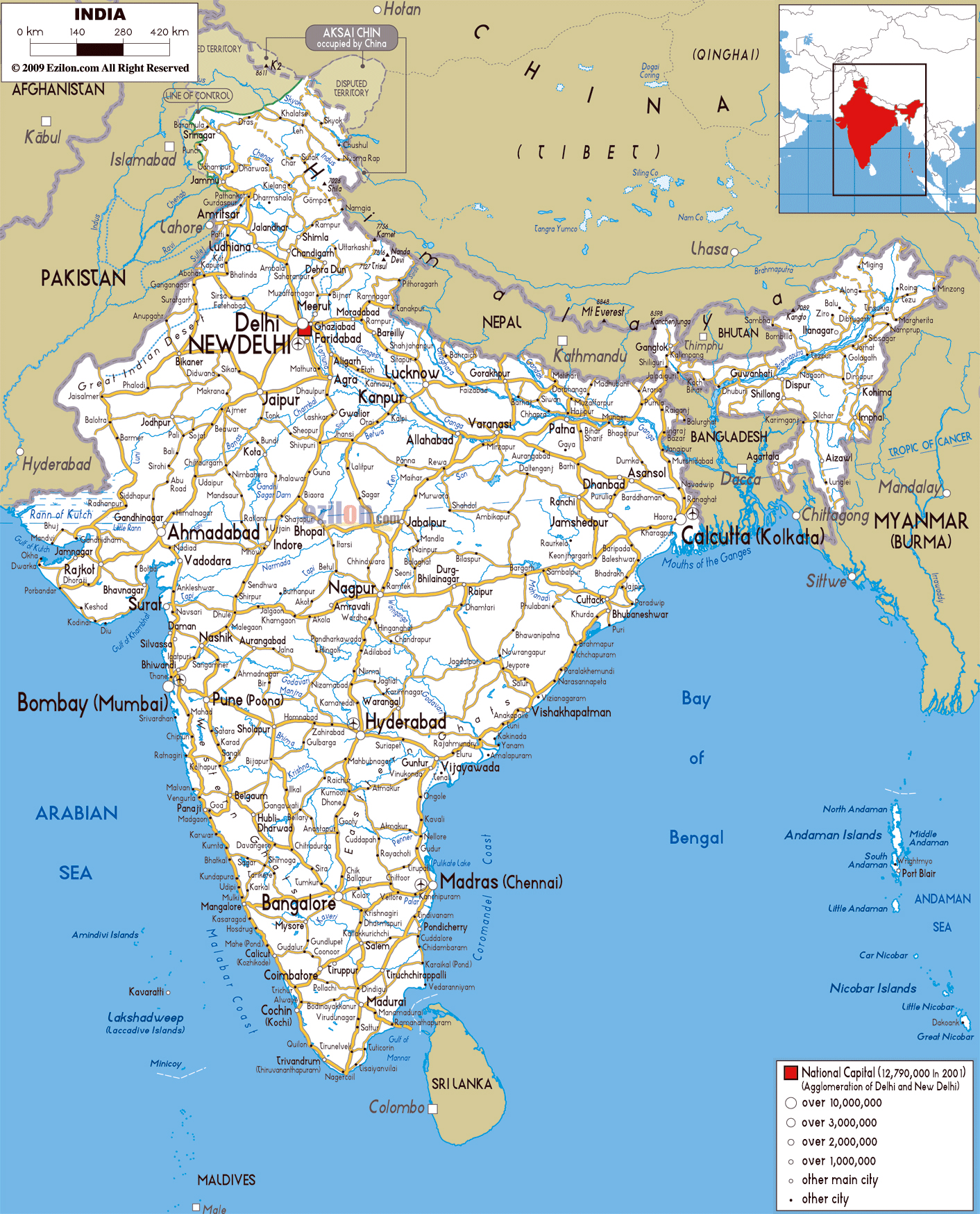 large road map of india with cities and airports