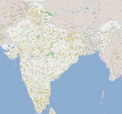 Large road map of India with national parks and cities.