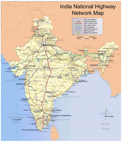 Large scale India National Highway Network map.