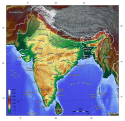 Large topographical map of India.