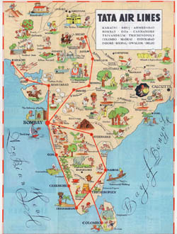 Large tourist illustrated map of India.