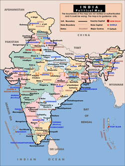 Political and administrative map of India.
