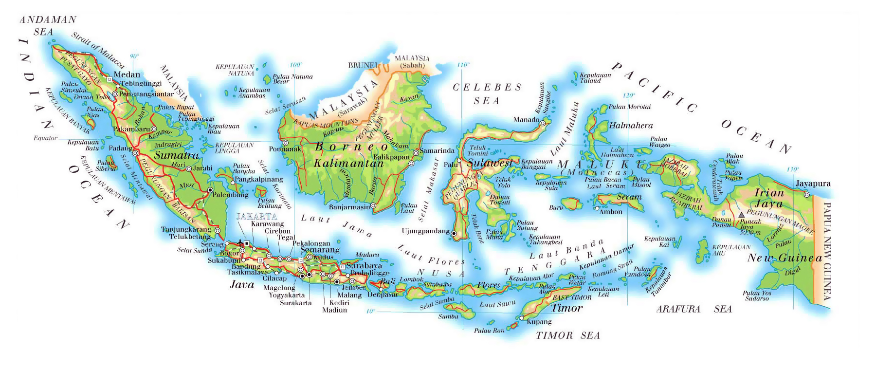 Maps of indonesia detailed map of indonesia in english tourist detailed elevation map of indonesia with roads relief and airports gumiabroncs Images