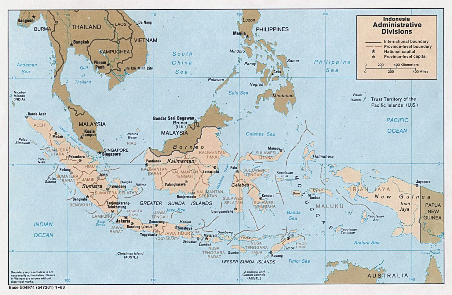 Maps of indonesia detailed map of indonesia in english tourist large administrative divisions map of indonesia 1983 sciox Gallery