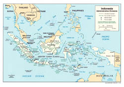 Large administrative divisions map of Indonesia with major cities - 2002.