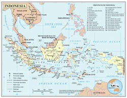 Large detailed political and administrative map of Indonesia with roads, major cities and airports.