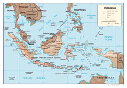 Large detailed political map of Indonesia with relief, roads and cities - 2002.