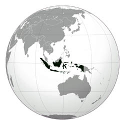 Large location map of Indonesia.