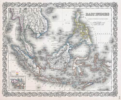 Large old map of East Indies with relief - 1855.