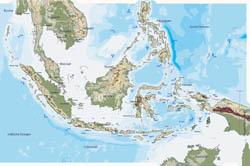 Large physical map of Indonesia.
