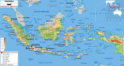 Large physical map of Indonesia with roads, cities and airports.