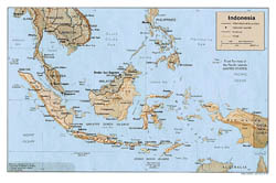 Large political map of Indonesia with relief, roads and major cities - 1987.
