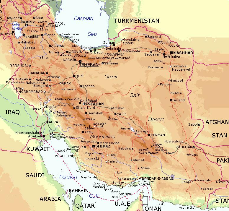 iran map city names