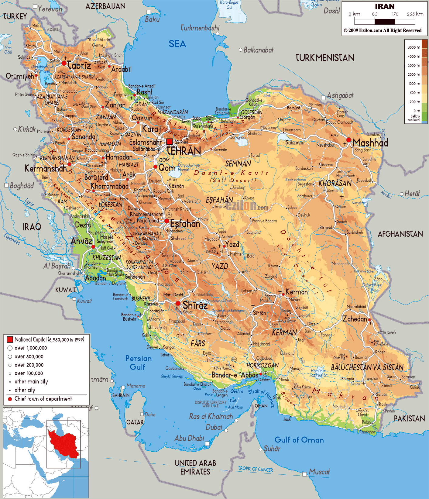 large physical map of iran with all cities roads and airports