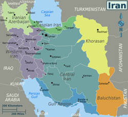 Large regions map of Iran.