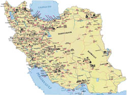 Large tourist map of Iran.