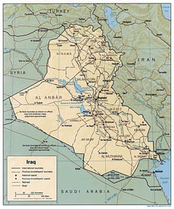 Detailed political and administrative map of Iraq with relief - 1991.