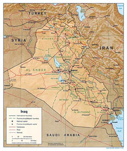 Detailed political and administrative map of Iraq with relief, roads and cities - 1996.