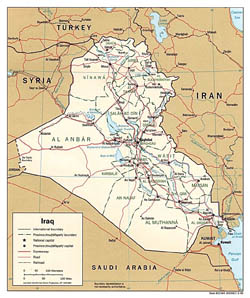 Detailed political and administrative map of Iraq with roads and cities - 1996.