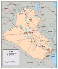 Detailed political map of Iraq with roads and major cities.