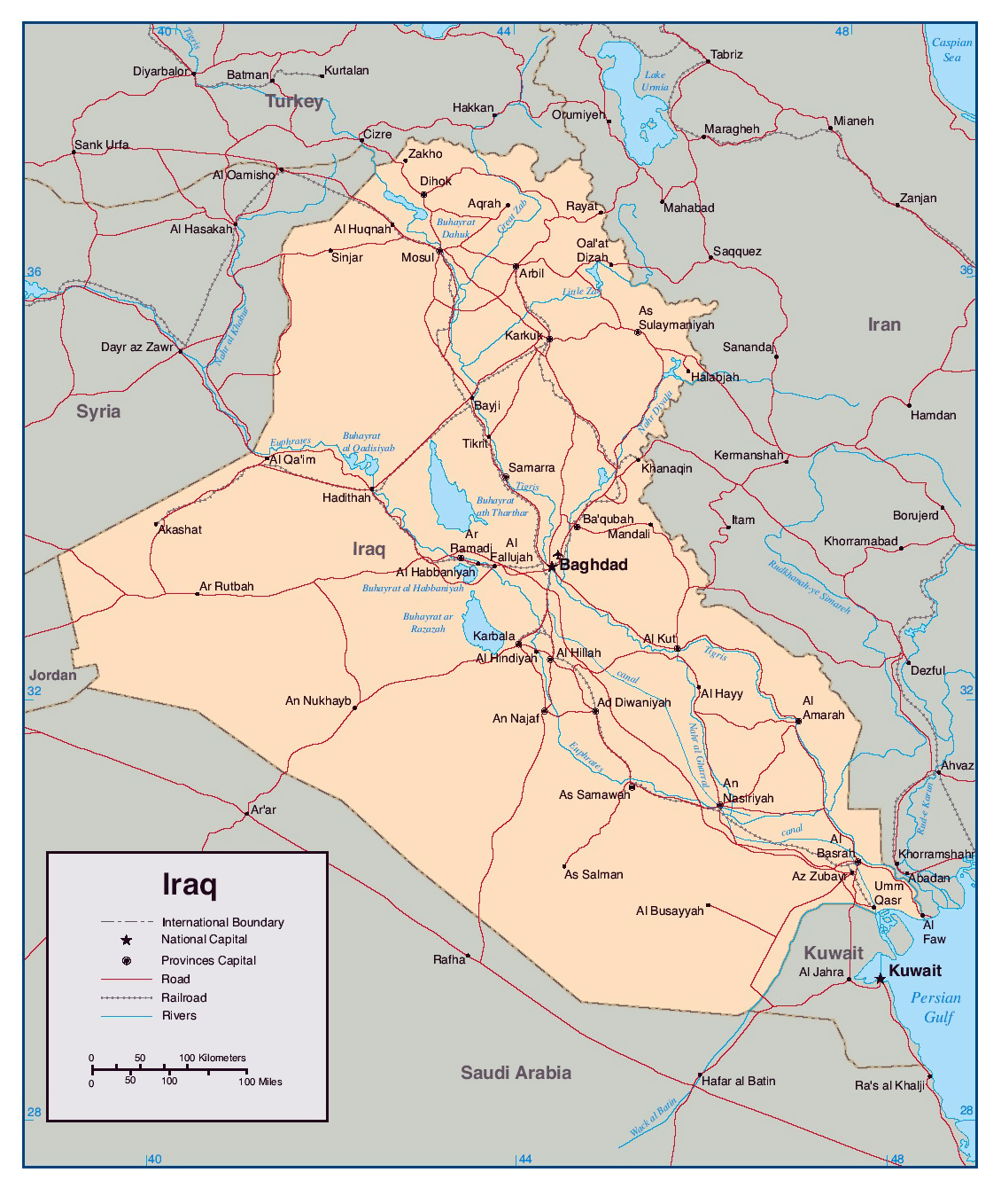 Maps of Iraq | Detailed map of Iraq in English | Tourist map of Iraq ...