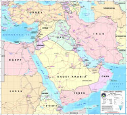 Large detailed Middle East graphic map with all air force bases - 2003.