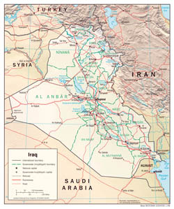 Large detailed political and administrative map of Iraq with relief, roads and cities - 2008.