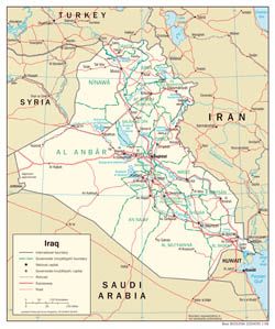 Large detailed political and administrative map of Iraq with roads and cities - 2008.