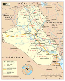 Large detailed political and administrative map of Iraq with roads, cities and airports.