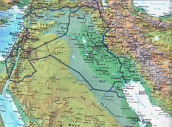 Large detailed topographical and political map of Iraq.