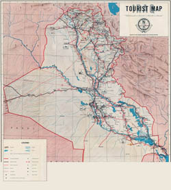 Large detailed tourist map of Iraq - 1970.