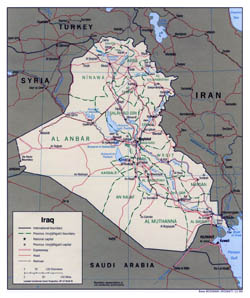 Large political and administrative map of Iraq - 1999.