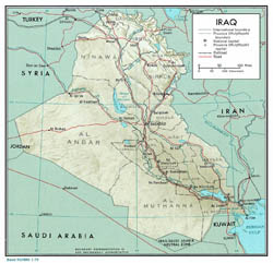Large political and administrative map of Iraq with relief - 1976.