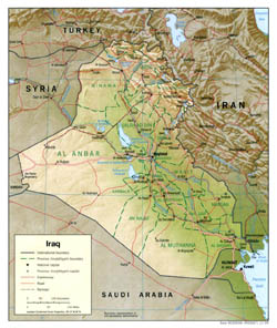 Large political and administrative map of Iraq with relief - 1999.