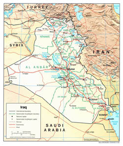 Large political and administrative map of Iraq with relief, roads and cities - 2004.