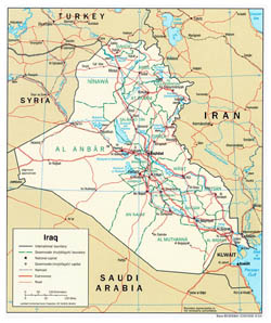 Large political and administrative map of Iraq with roads and cities - 2004.