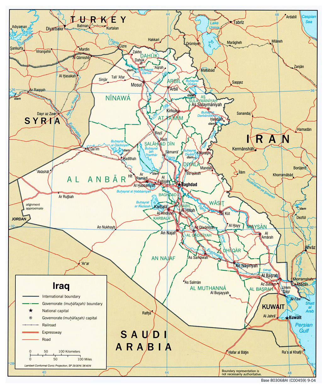 large political and administrative map of iraq with roads and cities 2004