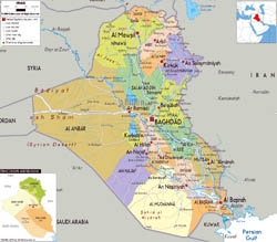 Large political and administrative map of Iraq with roads, cities and airports.
