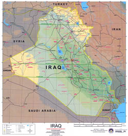 Large political and elevation map of Iraq with roads, cities and airports.