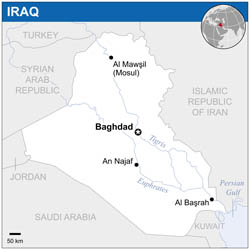 Large political map of Iraq.