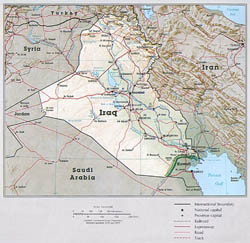Large political map of Iraq with relief, roads and major cities.