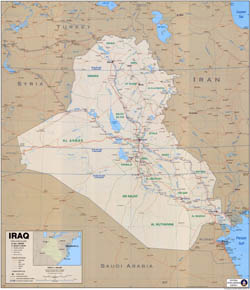 Large scale political map of Iraq with roads, expressroads, cities and other marks 2003.